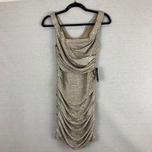 Express Gold Metallic Ruched Mini Dress NWT